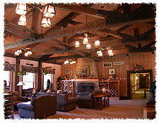 Abe Martin Lodge lobby with fireplace